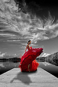 Photoshop Composition. Photograph of a Puerto Rico Fashion In model wearing a Douglas Tapia design on a Humacao Natural Reserve Landscape picture.