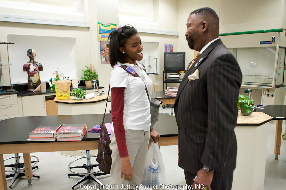DETROIT, MI - NOVEMBER, 16: Robert C. Bobb, Emergency Financial Manager of Detroit Public Schools,right, meets with a student during a surprise visit at Renaissance High School in Detroit, MI, Tuesday, November 16, 2010. (Photo by Jeffrey Sauger)