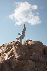 Angel figure on a rock formation in Texas
