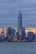 Freedon Tower, 1 WTC, the tallest skyscraper in the Western Hemisphere, designed by David Childs, Statue of Liberty, New York City Skyline, Manhattan, New York