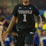 12/30/11 Newark DE: Temple Junior Guard #1 Khalif Wyatt gesture while running up court during a NCAA basketball game against Delaware Friday, Dec. 30, 2011 at the Bob carpenter center in Newark Delaware.<br /> <br /> Rahlir Jefferson-Hollis led the Owls with 13 points and eight rebounds, Anthony Lee added a career-high 12 points, seven rebounds, and three blocks, Juan Fernandez contributed 11 points, and Ramone Moore chipped in with 10 points and a game-high six assists.