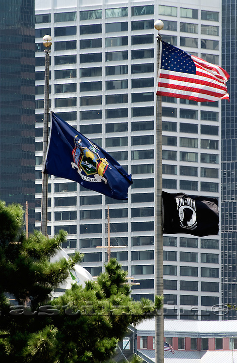 Flag of New York on Manhattan background.