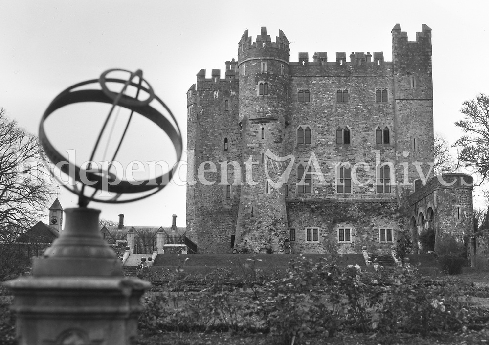 R518 Kilkea Castle, Kildare, 16th December 1953. Exterior view showing castle and grounds, with weathervane globe. (Part of the Independent Ireland Newspapers/NLI Collection)