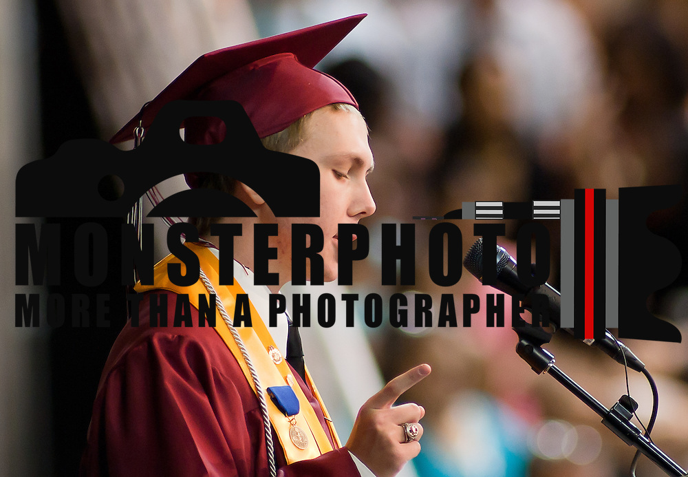 06/13/12 Newark DE: Appoquinimink Valedictorian Robert Pritchard addresses his fellow classmates during commencement exercises Wednesday, June 13. 2012, at The Bob Carpenter Center in Newark Delaware...Special to The News Journal/SAQUAN STIMPSON