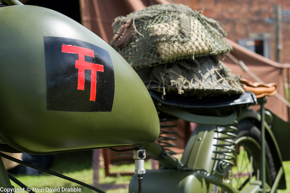 61st Reconnaissance Regiment Living History Group display, motorcycle marked with the British 50th Division patch <br /> <br />   04May 2015<br />   Image &copy; Paul David Drabble <br />   www.pauldaviddrabble.co.uk