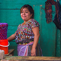 CHICHICASTENANGO , GUATEMALA - JULY 26 : Portrait of Guatemalan woman in the Chichicastenango Market on July 26 2015. This native market is the most colorful in Central America
