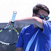 Caesar Rodney Alex Feuerstein whips off sweat during a DIAA Tennis State final match Tuesday, May. 26, 2015 at UD Field House in Newark, DEL