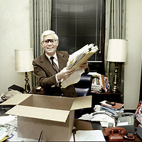 U.S. Representative John Anderson (R-IL) packs his office following his 1980 failed independent presidential bid.
