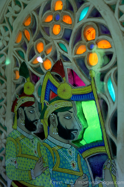 Asia, India, Udaipur. Colored Glass Windows of Udaipur City Palace