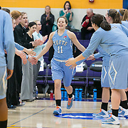 03/21/2014- Stevens Point, Wisc. - Tufts guard Caitlin McClure, A14, is introduced during the pre game before facing FDU-Florham at the NCAA Division III Women's Final Four at Quandt Fieldhouse on Mar. 21, 2014. (Kelvin Ma/Tufts University)