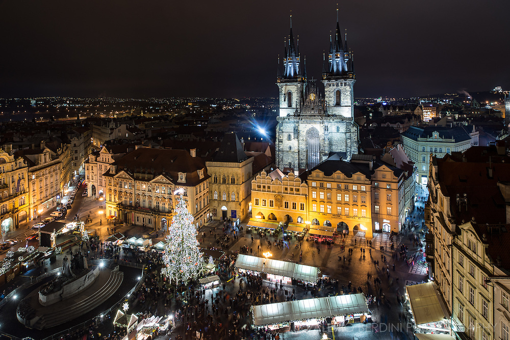 Church of Our Lady before Týn overlooking Prague Old Town square during Christmas time. One of the most incredible cityscape in the world.