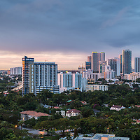 View from the South of downtown Miami, Florida office and residentail buildings.