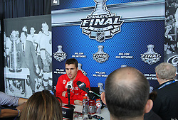 May 29; Newark, NJ, USA; New Jersey Devils left wing Zach Parise (9) during Stanley Cup Finals media practice day at the Prudential Center.
