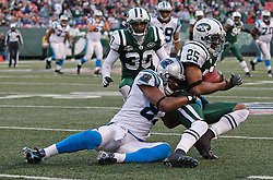 Nov 29, 2009; East Rutherford, NJ, USA; New York Jets safety Kerry Rhodes (25) runs with the ball after an interception, while Carolina Panthers wide receiver Muhsin Muhammad (87) tries to tackle him during the second half at Giants Stadium. The Jets defeated the Panthers 17-6.