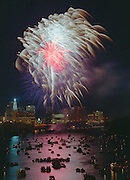 Fireworks over Connecticut River celebrate Riverfest at Hartford, CT.