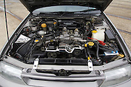 Engine Bay .1991 Subaru RS Liberty Turbo - Charcoal.Shot on location at Docklands area, Melbourne, Victoria.3rd July 2005.(C) Joel Strickland Photographics.Use information: This image is intended for Editorial use only (e.g. news or commentary, print or electronic). Any commercial or promotional use requires additional clearance.