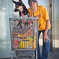Bob with his dog, San Diego, California