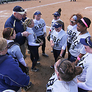 Goldey-Beacom Manager Bill Streets (LEFT) instructing his players prior to game #1 of NCAA Central Atlantic Collegiate Conference (doubleheader) between Goldey-Beacom and Post University Saturday, March 30, 2013, at Nancy Churchmann Sawin Athletic Field in Wilmington Delaware.