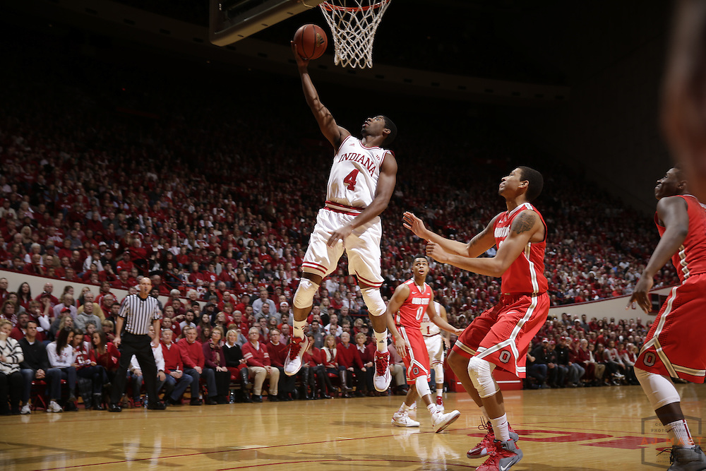 Indiana guard Robert Johnson (4) as Ohio State played Indiana in an NCCA college basketball game in Bloomington, Ind., Saturday, Jan. 10, 2015. (AJ Mast)