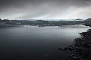The lagoon at Jökulsárlón in South-East Iceland on a typically overcast day