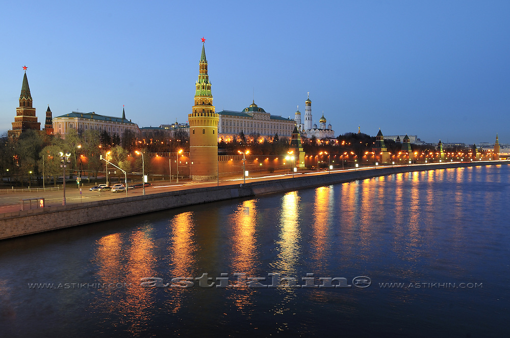 Reflection of Moscow Kremlin in Moscow River. Kremlyovskaya naberezhnaya.