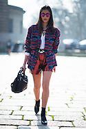 Metallic Shorts and Sunglasses, Outside Roberto Cavalli
