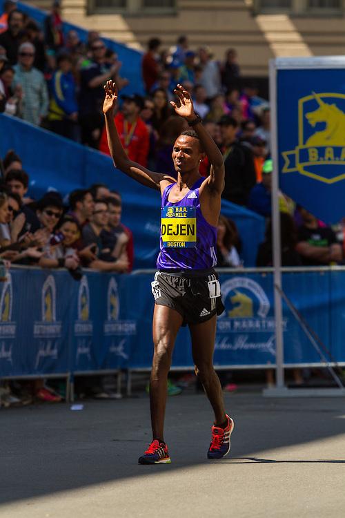 Boston Marathon: BAA 5K road race, Invitational Mens Mile, Dejen Gebremeskel, winner, Ethiopia