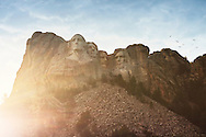 Mount Rushmore National Memorial at sunset in Keystone, South Dakota.