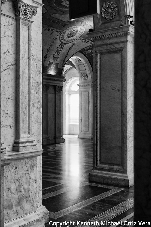 A photo of the many arches in the Library of Congress in Washington D.C.