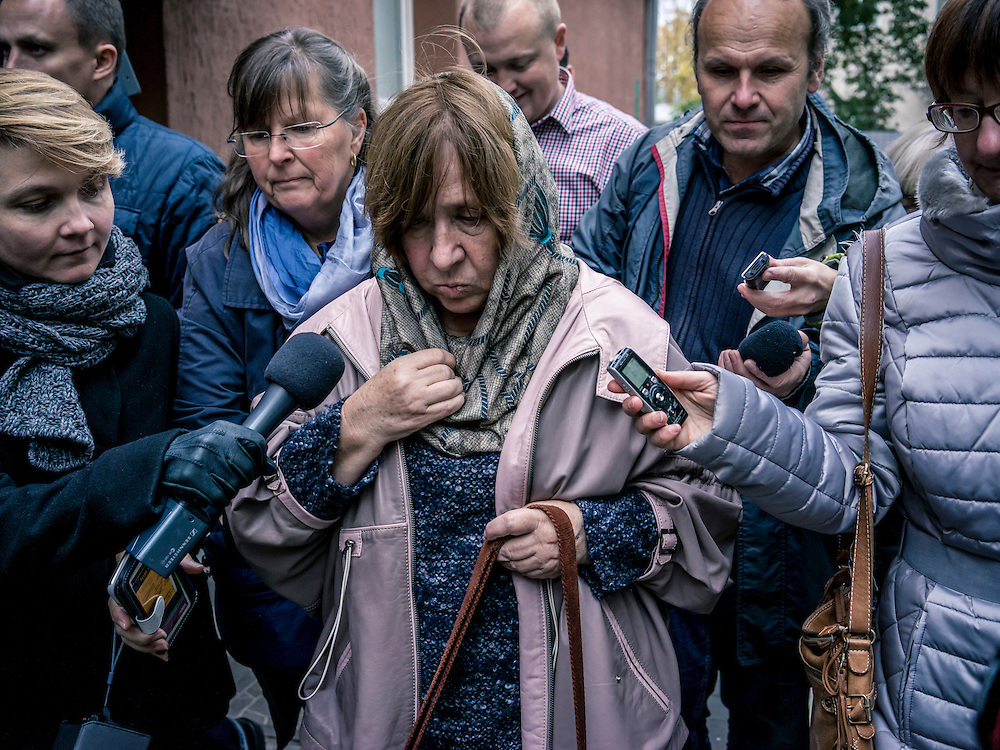 Svetlana Alexievich arrives for a news conference after the announcement that she had won the Nobel Prize for literature on Thursday, October 8, 2015 in Minsk, Belarus.