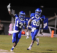 Water Valley's K.J. Lee (17) celebrates his interception return for a touchdown vs. Calhoun City in Water Valley, Miss. on Friday, September 2 2011. Calhoun City won 16-14..