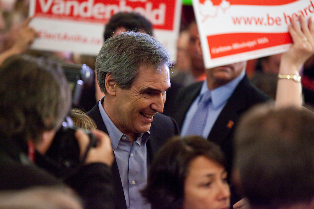Liberal leader Michael Ignatieff greets supporters at a campaign kickoff rally in Ottawa, Ontario, March 26, 2011 following the fall of the Conservative government  Friday. Canadians will be heading to the polls May 2.<br /> AFP/GEOFF ROBINS/STR