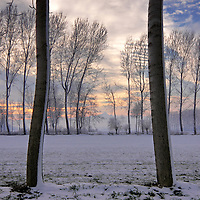 Simple and stark plowed fields, and row of trees turn to a kind of wonderland with snow. Some beautiful sunset colours in the background is the ice on the cake (pun intended). Taken in the fileds nearby Castagnole in Piedmont, Italy, at mid January.