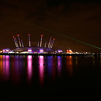 O2 Arena at Night with Meridian Line Laser