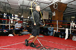 June 9, 2009; New York, NY, USA;  Miguel Cotto works out at the Trinity Gym for his upcoming fight against Joshua Clottey. The two will meet on June 13, 2009 at Madison Square Garden.