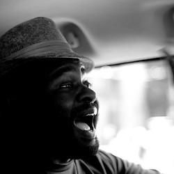 Mustafa getting the energy up in the van as it leaves San Fran.