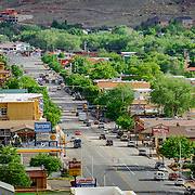 SHOT 5/7/16 6:01:10 PM - Moab is a city in Grand County, in eastern Utah, in the western United States. Moab attracts a large number of tourists every year, mostly visitors to the nearby Arches and Canyonlands National Parks. The town is a popular base for mountain bikers and motorized offload enthusiasts who ride the extensive network of trails in the area. Includes images of Scenic Byway 128, Fisher Towers and downtown Moab. (Photo by Marc Piscotty / © 2016)