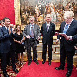 Prime Minister Matteo Renzi visits Lancaster House for the celebration of the 150th anniversary of Giuseppe Garibaldi&rsquo;s visit to London.<br /> In the photo:  Matteo Renzi