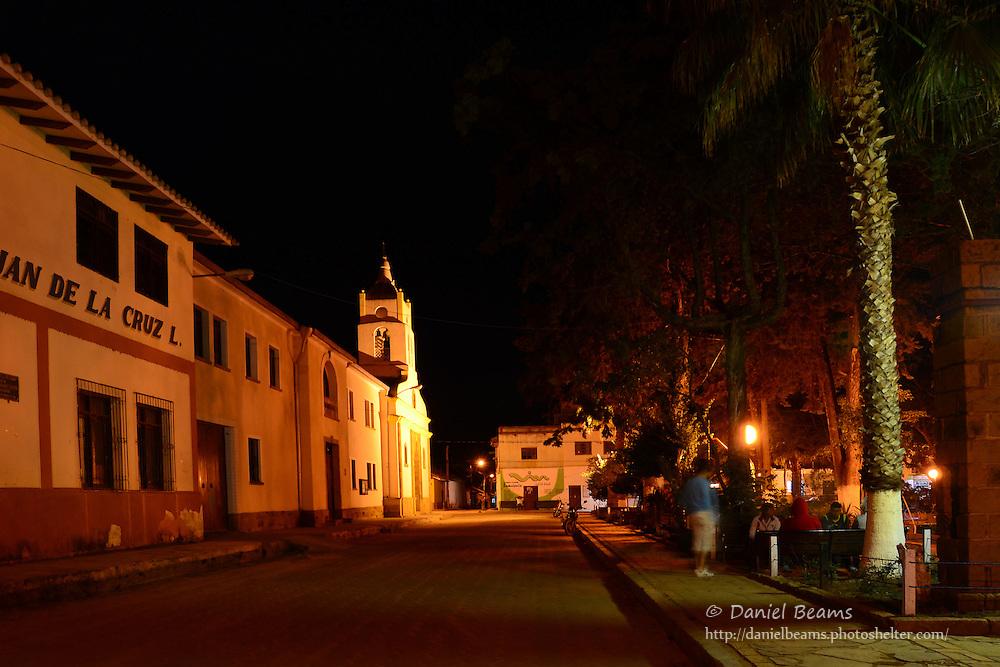 On the street at night in Samaipata, Santa Cruz, Bolivia