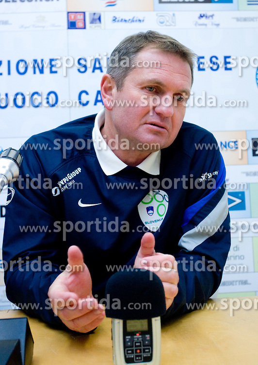 Head coach of Slovenia Matjaz Kek  at press conference after the last 2010 FIFA World Cup South Africa Qualifying match in Group 3 between San Marino and Slovenia, on October 14, 2009, in Olimpico Stadium, Serravalle, San Marino. Slovenia won 3:0. (Photo by Vid Ponikvar / Sportida)