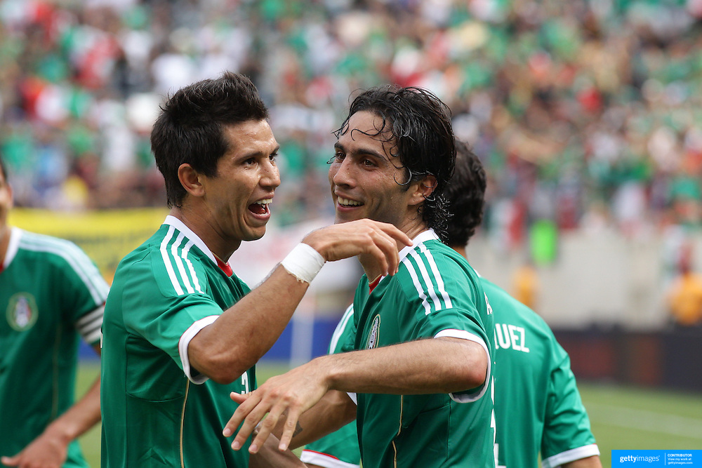 Aldo De Nigris, Mexico, (right) celebrates after scoring with team mate Jesus Molina during the Mexico V Wales international football friendly match at MetLife Stadium, East Rutherford, New Jersey, 23rd May 2012. Photo Tim Clayton