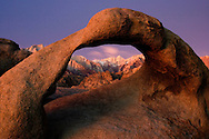 Pre-Dawn View of Mount Whitney through the Alabama Hills Mobius Arch