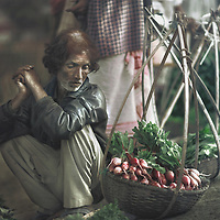 Man selling radishes, Hinimari market near Guwahati, Assam, India.