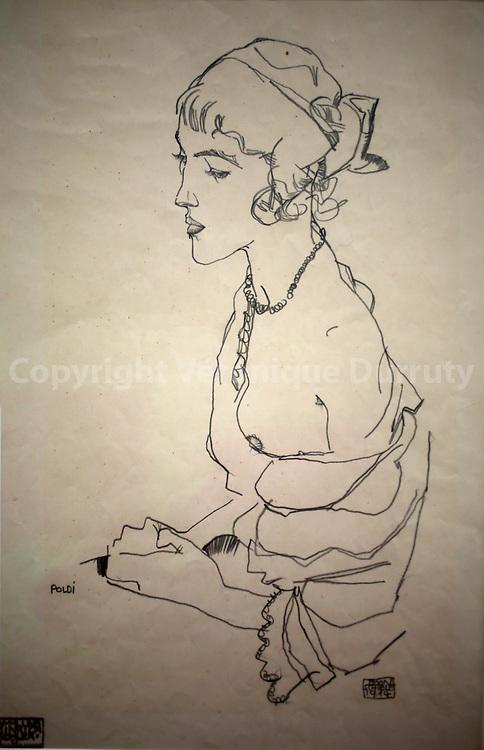 Egon Schiele, Poldi, 1914, Leopold Museum, Vienna, Austria // Egon Schiele, Poldi, 1914, Musee Leopold, Vienne, Autriche