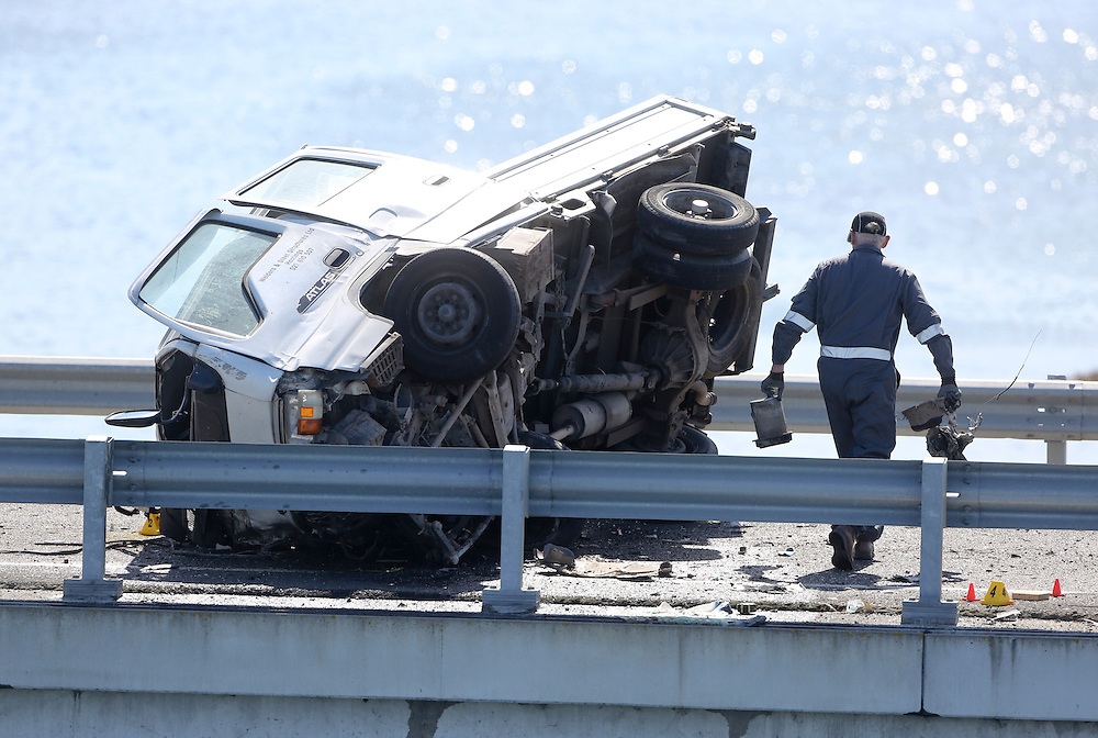 The wreckage of a light truck at a fatal accident on the Expressway near the airport, Napier, New Zealand, Sunday, November 25, 2012. Credit: SNPA / John Cowpland