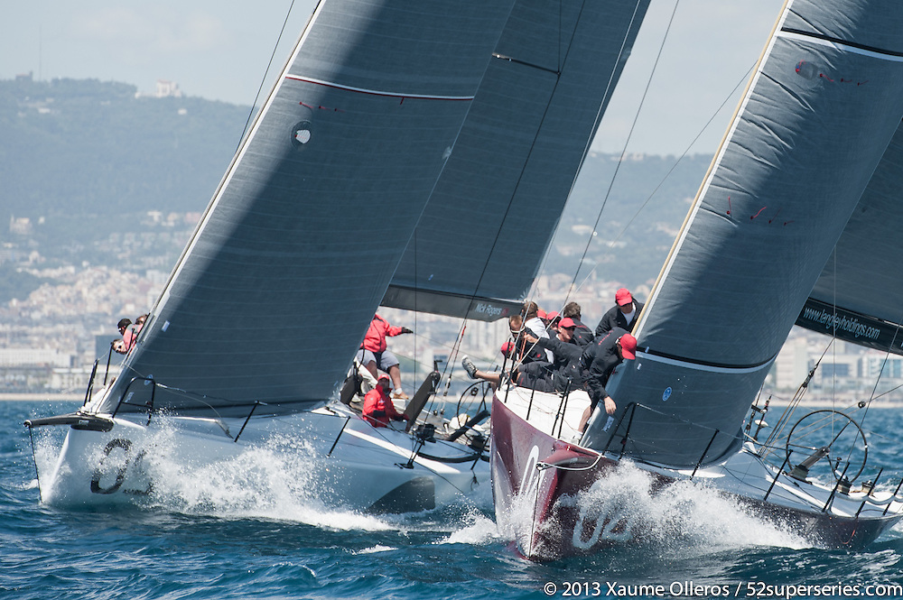BARCELONA, SPAIN - MAY 23: Gladiator (R) and Rio (L) in action during day one of the 40th Trofeo Conde de Godó at Real Club Náutico de Barcelona on May 23rd 2013 in Barcelona, Spain. Photo by Xaume Olleros / 52 Super Series