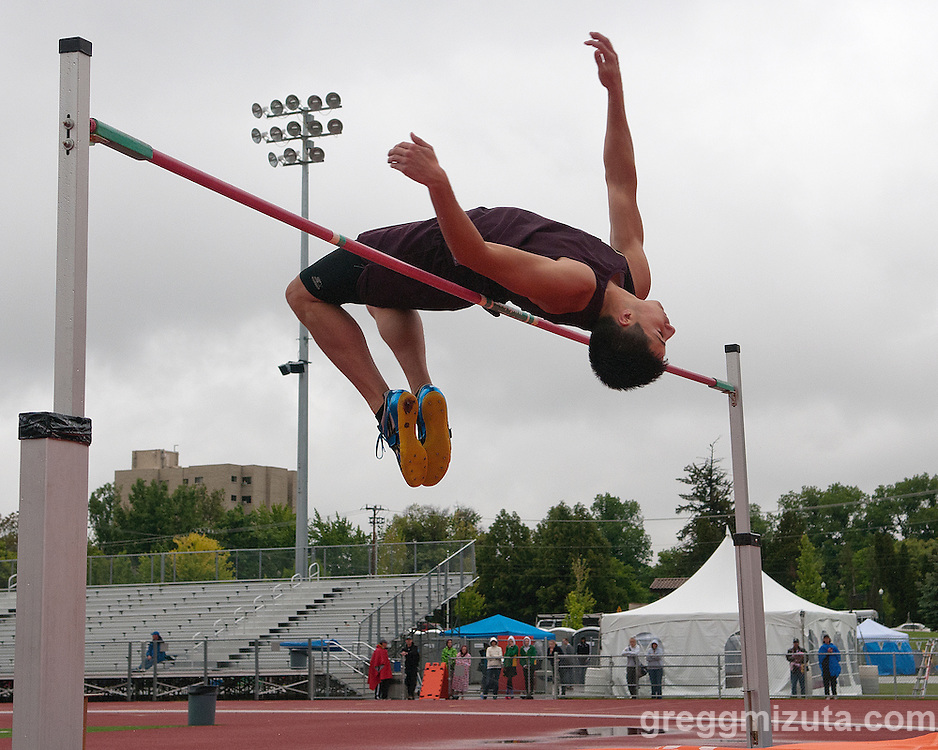 Rigby senior Diego Garcia high jumps during the Idaho High School Track & Field State Championships at Dona Larson Park, Boise, Idaho. May 15, 2015. Garcia won the event with a height of 6-06.00.