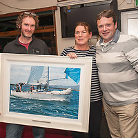 "Rob Bateman presents the ""Claire BatemanNautical Scribes award"" to Dave Lane and Sinead Enright."