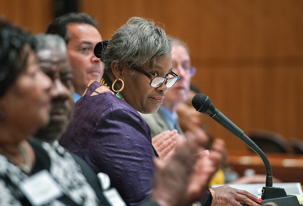 em021017g/a/House Maj. Leader Sheryl Williams Stapleton, D-Albuquerque, sits in the Speakers chair during a joint session of the House and Senate for African American Day at the State Legislature in Santa Fe, Friday February 10, 2017.  (Eddie Moore/Albuquerque Journal