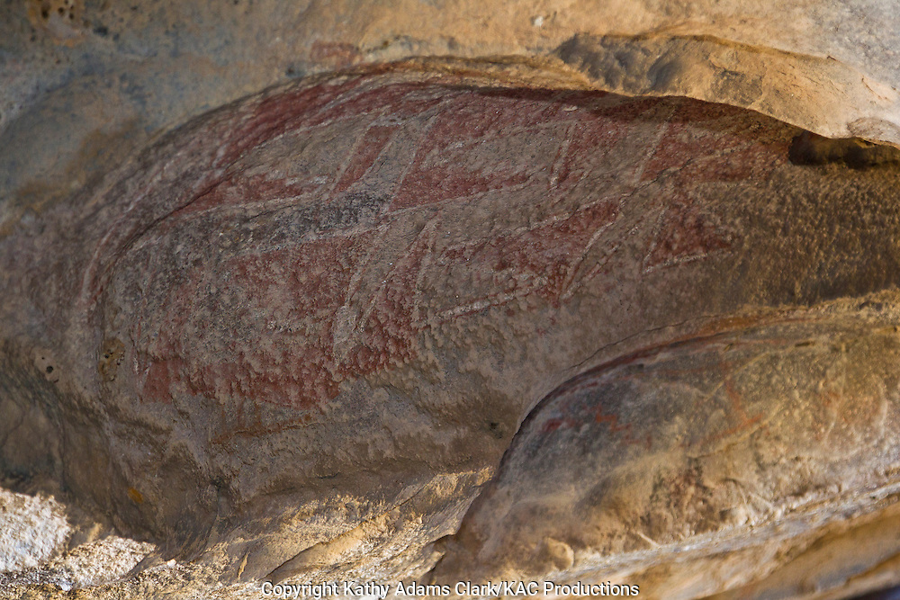 Pictograph, or painting on rocks, by the Jornada Mogollon dating from 600 AD to 1400 AD in a blanket design.  Hueco Tanks State Historical Park, outside El Paso, Texas.